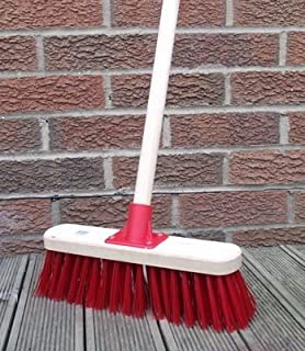 Stiff Sweeping Yard Brush 12' Red PVC Hard Broom with Handle Outdoor Stable