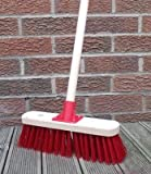 """Stiff Sweeping Yard Brush 12"""" Red PVC Hard Broom with Handle Outdoor Stable"""