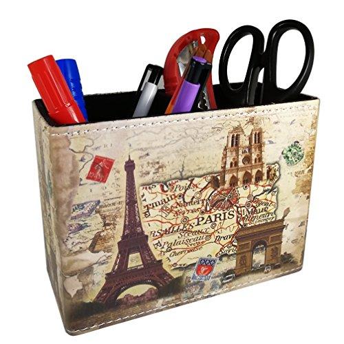 (Vintage Pen Pencil Holder Cup - DreamsEden Retro Pattern Desk Organizer for Home Office Bedroom (Paris Eiffel Tower))
