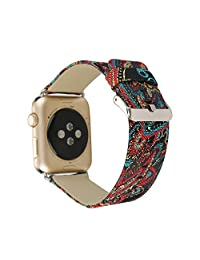 TCSHOW For Apple Watch Band 42mm,42mm Silk National Style with Inner Genuine Leather Replacement Strap Wrist Band with Silver Metal Adapter for both Series 1 and Series 2 Floral Serial