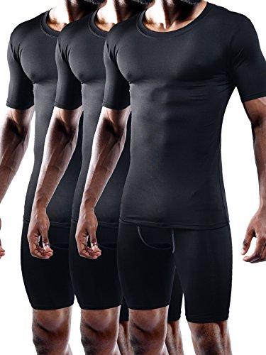 Neleus Men's 3 Pack Athletic Compression Under Base Layer T Shirt,5011,Black,XL,EUR 2XL
