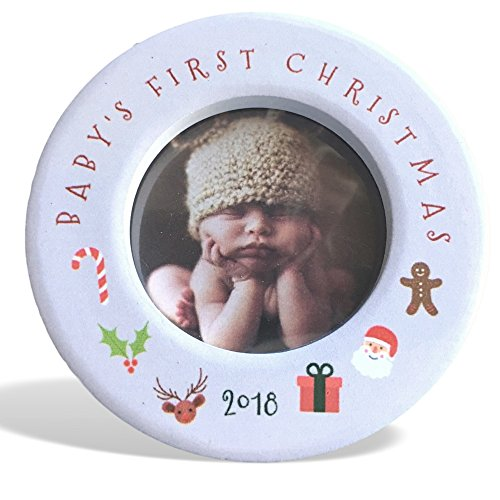 BANBERRY DESIGNS Babys First 2018 Christmas Photo Frame Ornament for Newborn - 3 1/2 Ceramic Photo Frame Baby