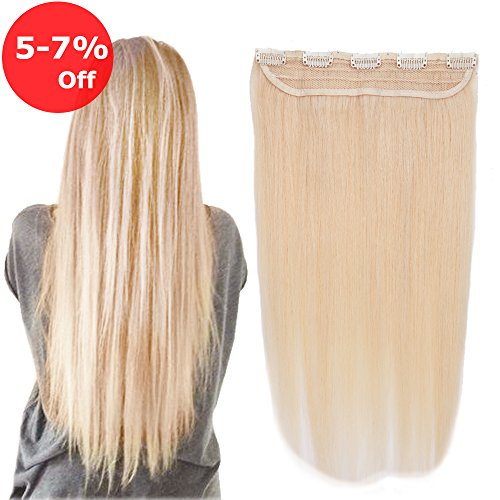 1 piece 5 Clips in Human Hair Extension On Sale Soft Remy Hair Weft Extension Fast Shipping - 18''Long 55g Natural Blonde #24