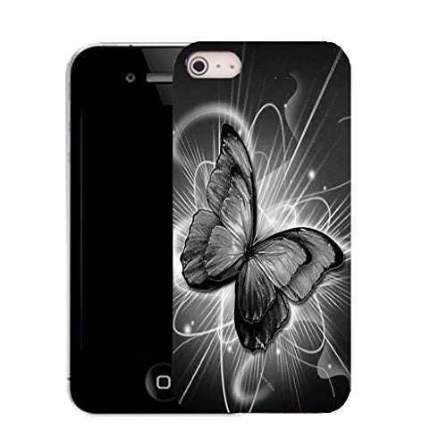 Mobile Case Mate IPhone 5 clip on Silicone Coque couverture case cover Pare-chocs + STYLET - BLACK TWIRL BUTTERFLY pattern (SILICON)