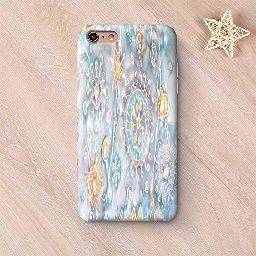 (Batik Decor Custom Compatible with iPhone Case,Free Batik Flower and Star Motifs with Motley Blots and Murky Splashes Fantasy Image Compatible with iPhone 6/6s,iPhone 6 Plus / 6s Plus)