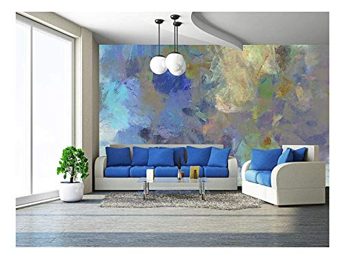 wall26 - Art Abstract Acrylic Blue Background with Beige and Violet Blots - Removable Wall Mural | Self-Adhesive Large Wallpaper - 100x144 ()