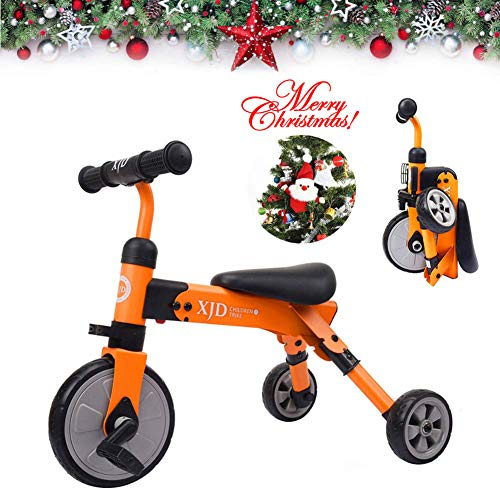 (2 in 1 Kids Glide Tricycles Toddler Tricycle Baby Balance Bike Trike for 2 Years Old and Up Boys Girls Gift Kids Bike Trike Kids Tricycle 2-4 Years Old Toddler Bike Trike Kids Balance Bike (Orange))
