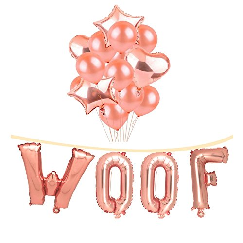 20 Pack 16 Inch Rose Gold WOOF Dog Birthday Decorations Set 12 Rose Gold Balloon and Star Heart Foil Balloons with Air Pump for Party Supplies