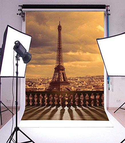 Laeacco Party Theme 3x5ft Thin Vinyl Photography Backdrop 1*1.5m Paris-theme Eiffel Tower Scenery Computer-printed Seamless Background Studio Props