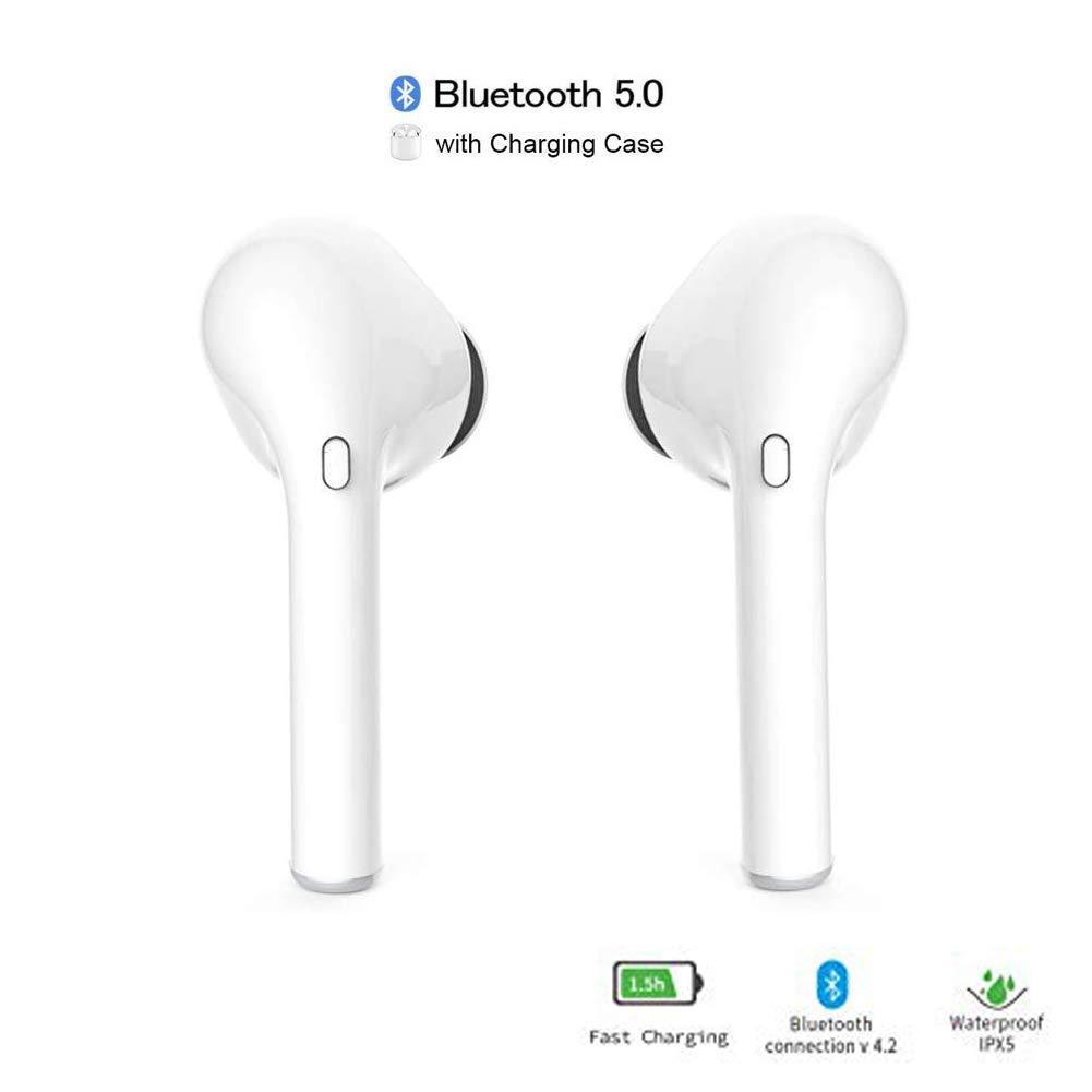Auriculares Bluetooth Inalambricos,True Wireless áuriculares Bluetooth Cascos Mini Twins Estéreo In-Ear Manos Libres con Microfono/para iOS Samsung ...