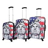 Chariot Liberty 3-Piece Lightweight Hardside Tsa Lock Spinner Luggage Set, US Flag For Sale