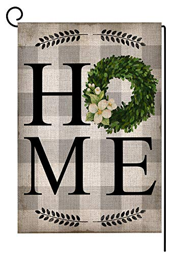 Boxwood Wreath Home Farmhouse Small Garden Flag Vertical Double Sided 12.5 x 18 Inch Burlap Yard Outdoor Decor ()