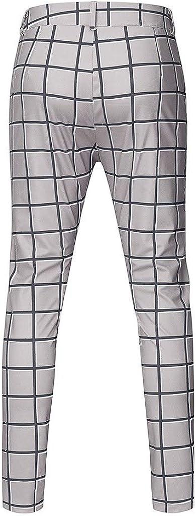 Mens Striped Pants Business Slim Pants Casual Plaid Sweatpants Athletic Hip Hop Pants Harem Pants Joggers