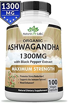 Organic Ashwagandha Root 1300 mg - 100 vegan capsules Pure Organic Ashwagandha root extract and powder - Natural Anxiety Relief, Mood Enhancer, Immune & Thyroid Support, Anti Anxiety Supplement