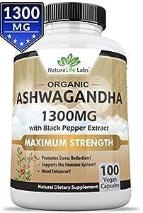 Organic Ashwagandha 1300mg - 100 vegan capsules Pure Organic Ashwagandha root extract and powder - Natural Anxiety Relief, Mood Enhancer, Immune & Thyroid Support, Anti Anxiety