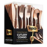 160 Rose Gold Plastic Silverware Set - Rose Gold Flatware Set - Plastic Rose Gold Cutlery Set Disposable - 80 Plastic Forks - 40 Plastic Spoons- 40 Plastic Knives - Heavy Duty for Party Bulk Pack