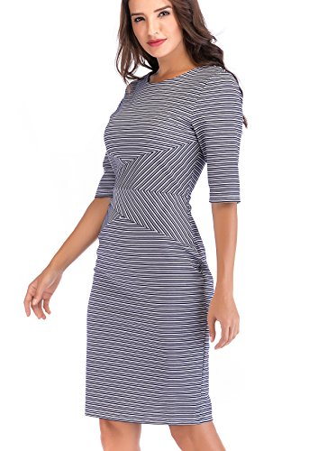 Lefancy Women's Office Jewel Neck 1/2 Sleeves Stripe Stretchy Sheath Pencil Work Dress (Navy, L) -