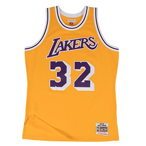 Magic Johnson La Lakers - Magic Johnson Los Angeles Lakers Mitchell and Ness Men's Gold Throwback Jesey X-Large