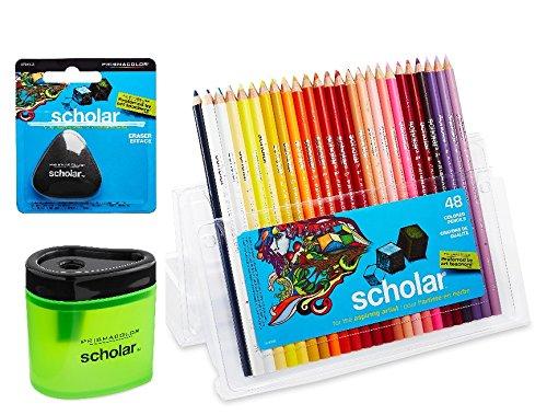 Prismacolor Scholar Colored Pencil and Accesory Set 1 Scholar Eraser Set of 48 Scholar Colored Pencils and 1 Scholar Pencil Sharpener 9280717742661774265