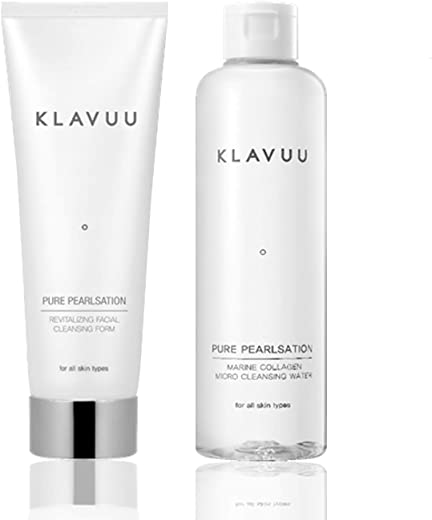 KLAVUU Micellar Cleansing Water and Foaming Facial Cleanser Set, Contains Pearls and Marine Collagen to Remove Makeup and Hydrate Skin - Double Face Cleanser - Face Wash set 2 Count - Cleansing Water