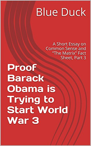 Proof Barack Obama is Trying to Start World War 3: A Short Essay on Common Sense and