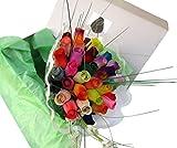 The Original Wooden Rose Assorted Colors Floral Flower Bouquets in a Gift Box (3 Dozen Bouquet) ...