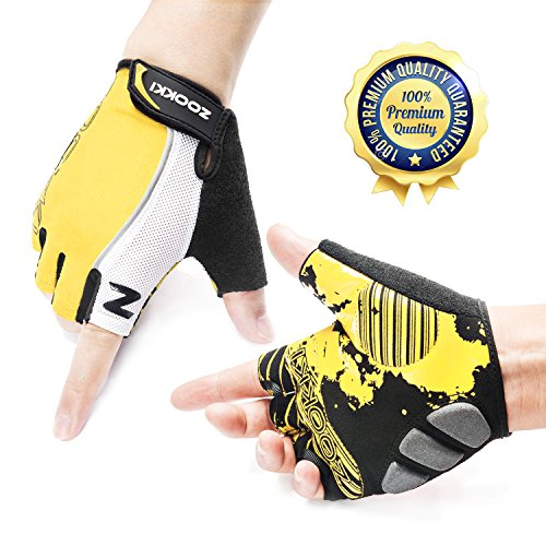 ZOOKKI Cycling Gloves Mountain Bike Gloves Road Racing Bicycle Gloves Light Silicone Gel Pad Riding Gloves Half Finger Biking Gloves Men/Women Work Gloves