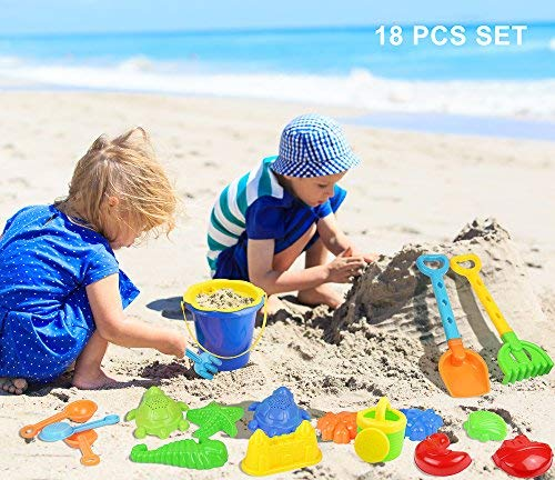 Click N' Play 18 Piece Beach Sand Toy Set, Bucket, Shovels, Rakes, Watering Can, Molds