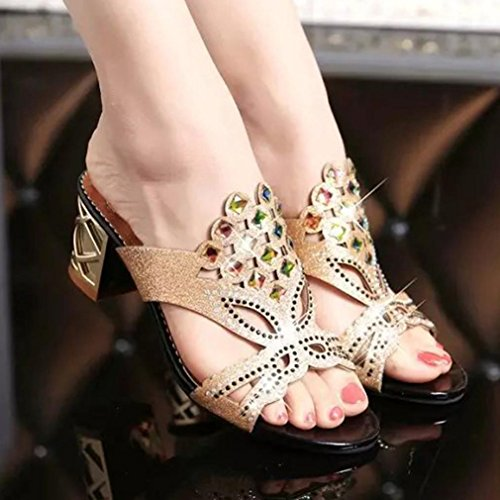 VEMOW Sandals for Women Girls Ladies 2018 Spring Summer New UK Sexy Bohemia Cute Beach Home Party Club Black Blue Green PU Big Rhinestone High Heel Sandals Ladies Shoes Black x8VVQP1Jt3