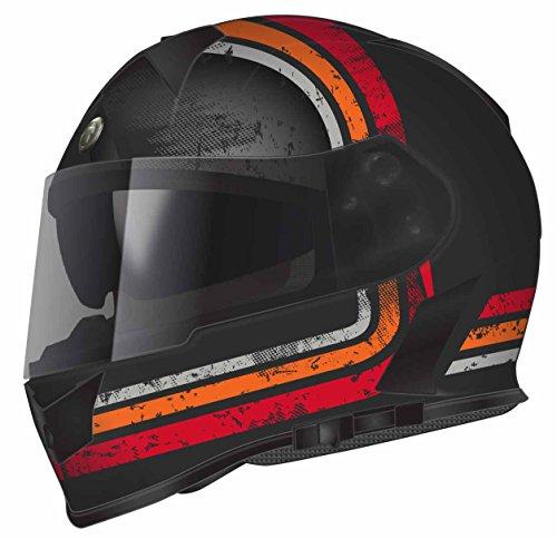 TORC Unisex-Adult Full Face helmet (Flat Black Streamline Orange, -