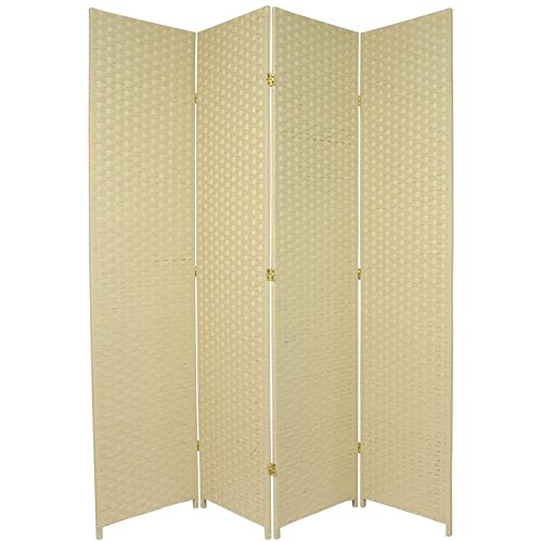 Oriental Furniture 7 ft. Tall Woven Fiber Room Divider - Cream - 4 (Accordian Panel)