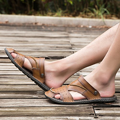 Sandali Scarpe Pelle Slip Infradito Open Scarpe on In Da Chiusa Da Khaki1 Punta Trekking Da Spiaggia Sandalo Da Pantofole Atletico Piscina Toe Uomo UrU5xqCw