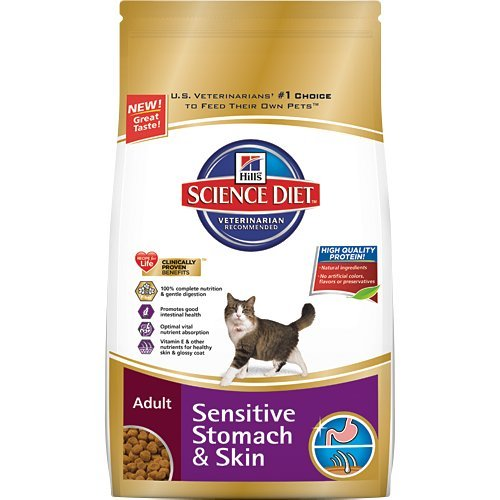 Hills Science Diet Adult Sensitive Stomach & Skin Dry Cat Food - 15.5 -Pound Bag