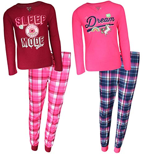 Youth Micro Poly Pant - Sleep On It Girls 4-Piece Long Sleeve Top and Pant Pajama Set, Red/Pink Flannel, Medium - 10/12'