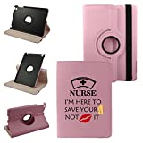 Ipad Air 2 (6th Generation 2014) Nurses Quote On Pink Cover, Synthetic Leather Rotating Ipad Air 2 Case: 360 Degrees Multi-angle Vertical and Horizontal Stand with Strap (Pink)