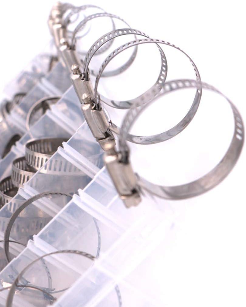 Wiivilik 100 Piezas Clips de Acero Inoxidable Ajustable Tubo de Agua Abrazaderas Engranaje Abrazaderas de Manguera del Tubo de Agua Surtido Kit de fontaner/ía