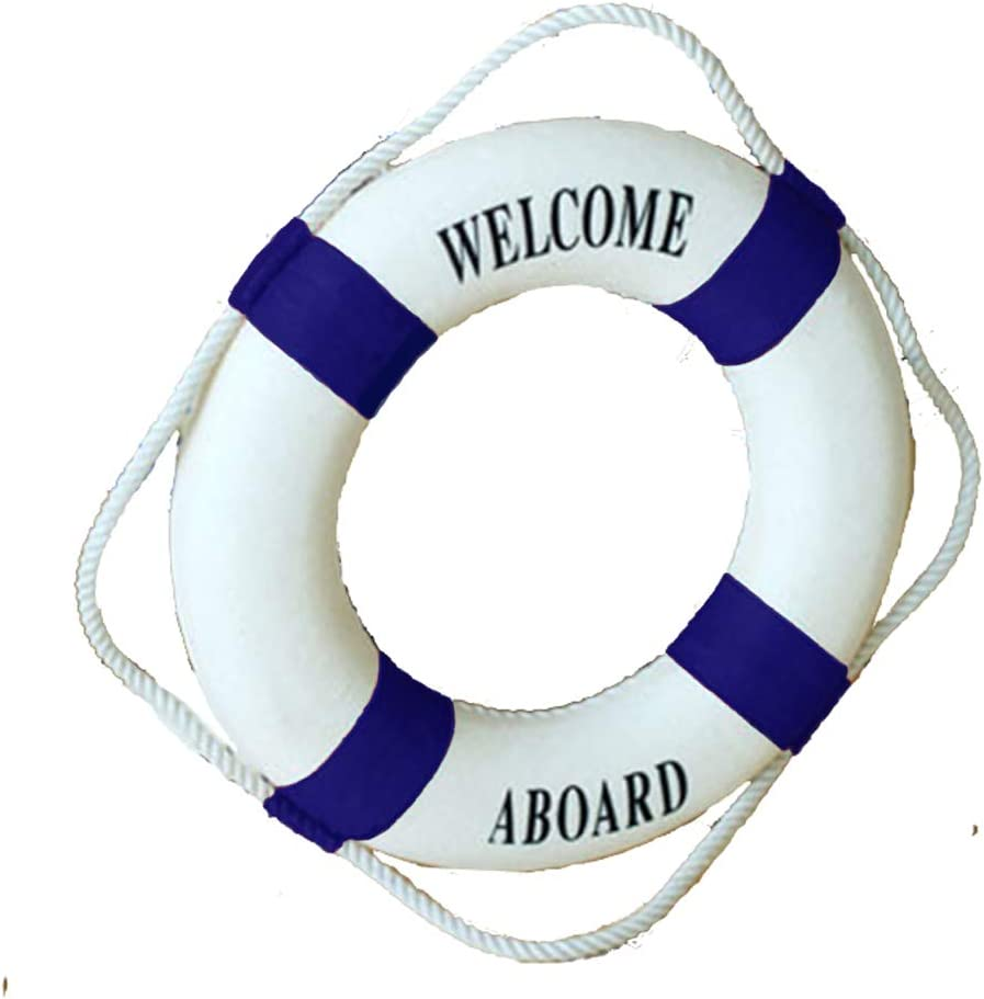 """MorroMorn Lifebuoy Wall Hanging Decor - Welcome Aboard Mediterranean Style Home Decoration (Navy, 20"""")"""