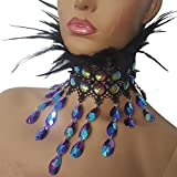 pinda Holographic Halloween Mermaid Party Costumes Burning Man Festival Feather Choker Necklace Collar (choker17)