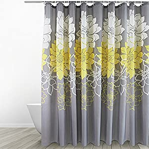 Eforgift Floral Printed Fabric Shower Curtain Polyester Waterproof/ No More  Mildews Bathroom Curtains WithHooks Yellow/Gray /White (72 Inch By 78 Inch)