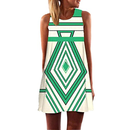 TOPUNDER Boho Swing Dress for Women Summer Sleeveless Knee Length Mini Dresses Trendy