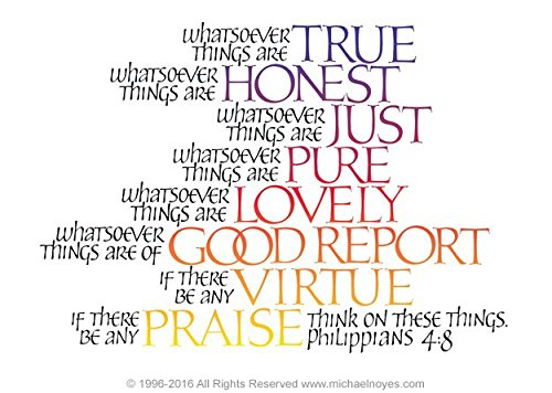 Think, Philippians 4:8, Framed Calligraphy Print, 8x10 Gold Frame, Wm  Blue  and Gold mats