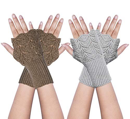 YSense 2 Pairs Womens Winter Warm Hand Crochet Knit Thumb Hole Fingerless Arm Warmers Gloves (Warmer Women Hand)