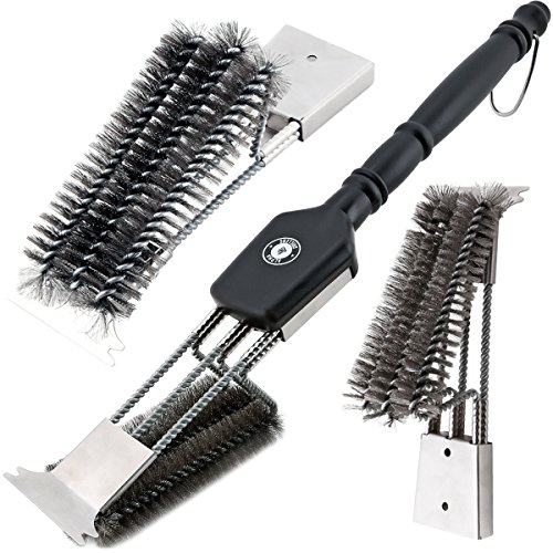 """18"""" Grill Brush With Scraper. UNIQUE 3 REPLACEABLE HEADS DESIGN. Best BBQ Cleaner. Safe For All Grills. Durable Stainless Steel Wire Bristles. A Perfect Grilling Gift For Barbecue Lovers."""