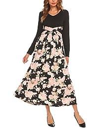 Women Casual V Neck Long Sleeve Print Maxi Dress High Waist