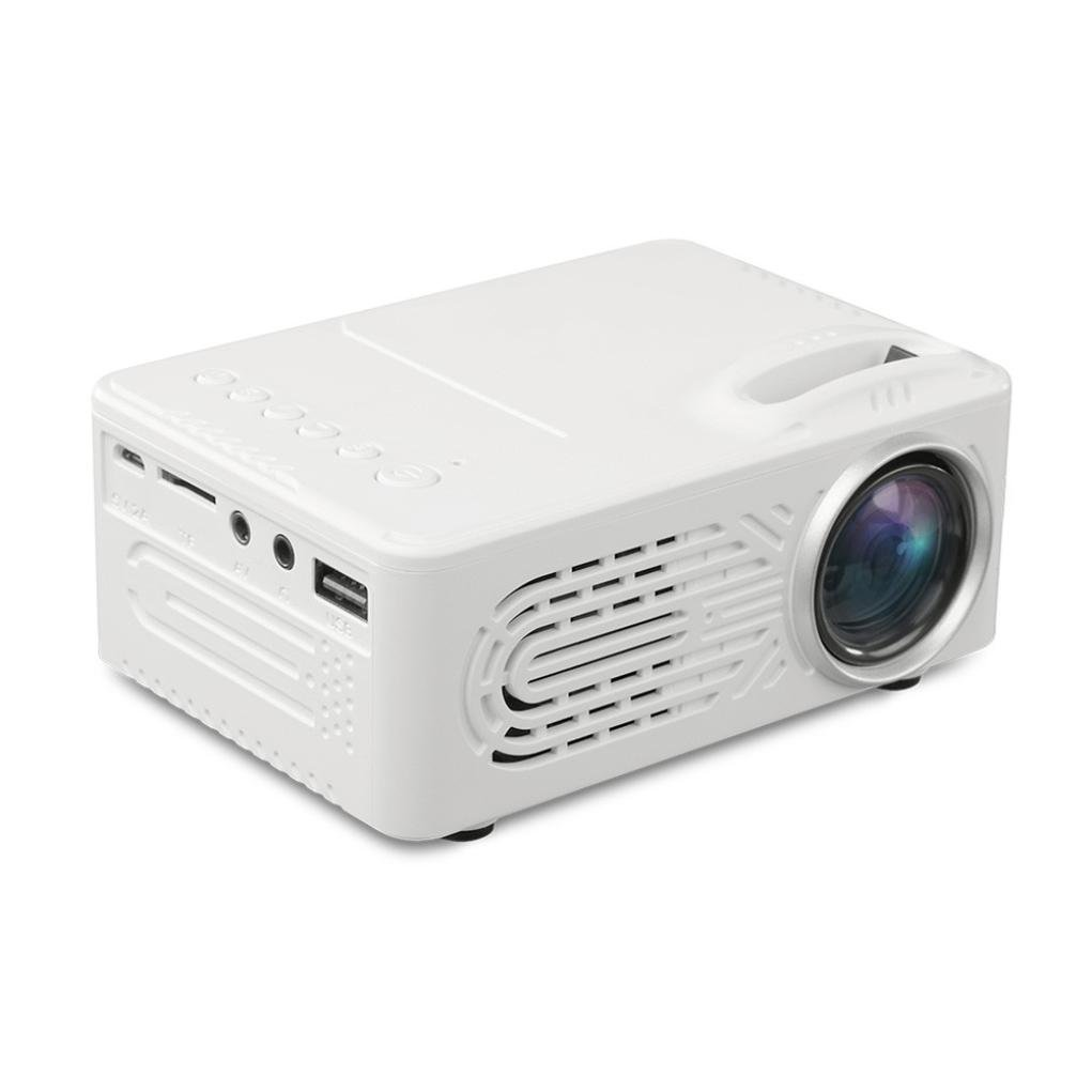 Mini Projector, 7000 Lumens 3D 1080P Full HD Mini Projector LED Multimedia Home Theater AV USB support Compatible with courtyard movie (White)