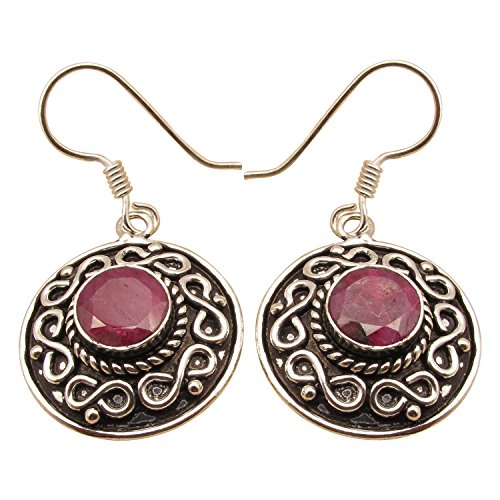 925 Sterling Silver Plated RED Round RUBY Antique Style Earrings, Made In India Online Jewelry Store