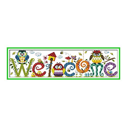 (Decdeal Cross-Stitching, 22.8 6.7 inches The Owl Welcome Card Pattern Cross Stitch Kit with Pre-printed 14CT Canvas Cloth & Cotton Thread Embroidery Home Wall Decor)