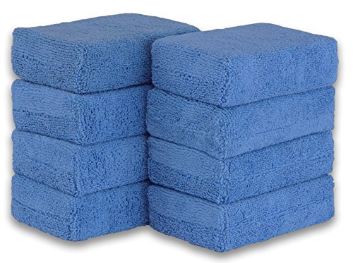 Simple Houseware 8 Pack - Microfiber Ultra-Soft Applicator Foam, Blue