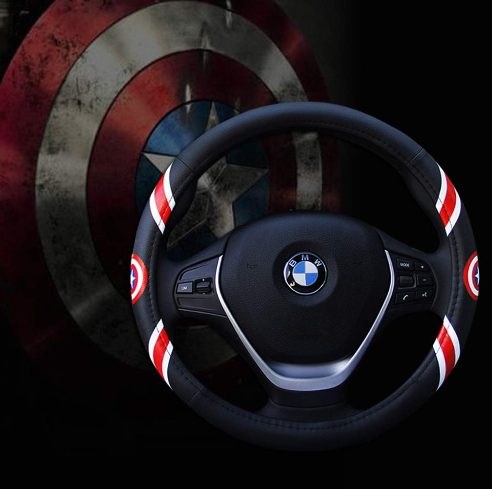 Steering Wheel Cover Cartoon Leather Four Seasons Universal Steering Wheel Cover Universal Size 37-39cm,Black