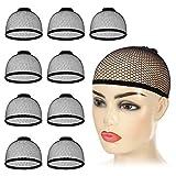 Moguer 30Pcs Black Wig Caps Stretchy Dome Wig Cap